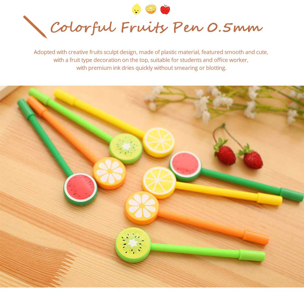 Unique Pen - Office Signature Pens with Needle Tip Colorful Fruits Sculpt, 0.5mm 0