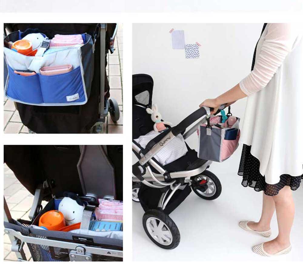 Mom's Stroller Bags, Waterproof Hanging Carriage Pram Buggy Trolley Bottle Pack 8
