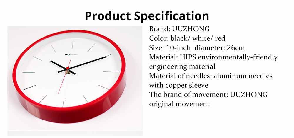 Modern Wall Clock Large - Minimalist Scale Silence Wall Clock Round Watch 10-inch 18