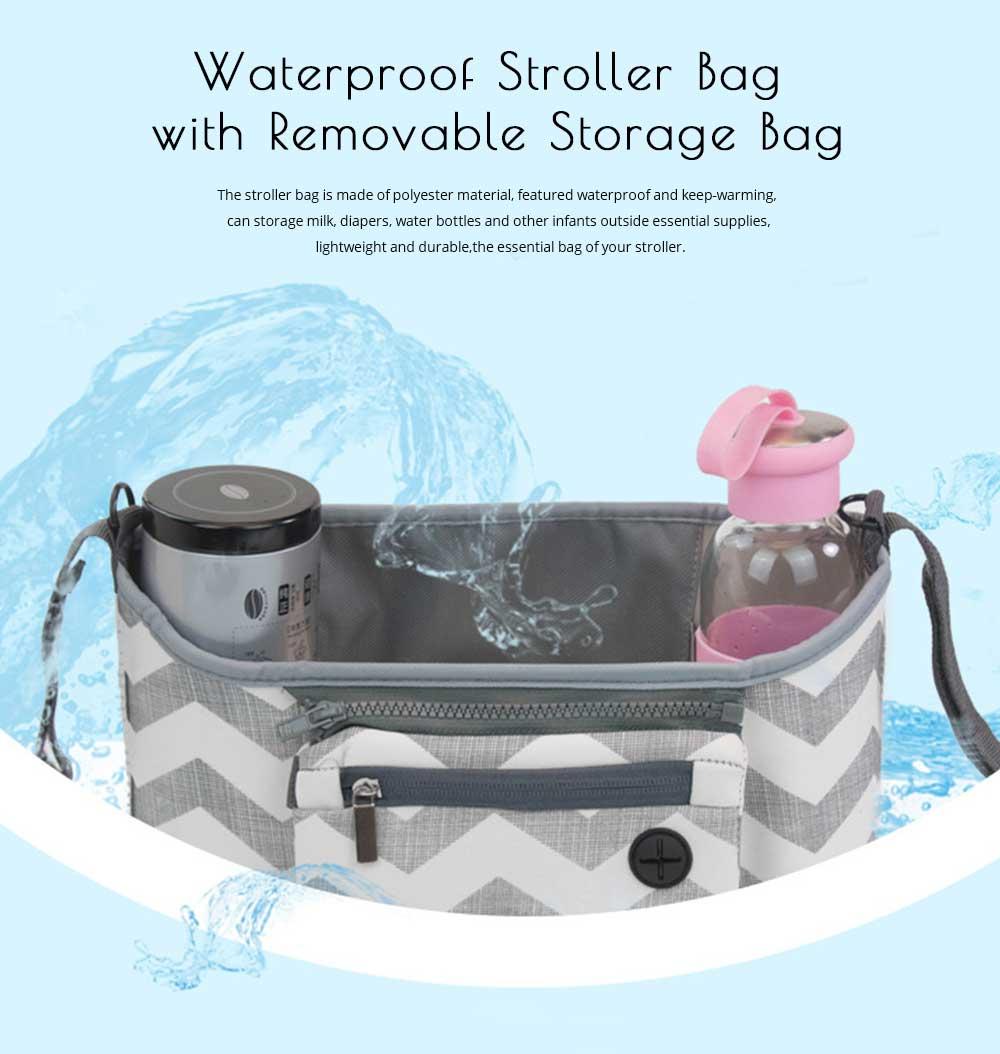 Stroller Bag Holder - Waterproof Keep Warm Stroller Bag Cup Holder with Phone Pram 6