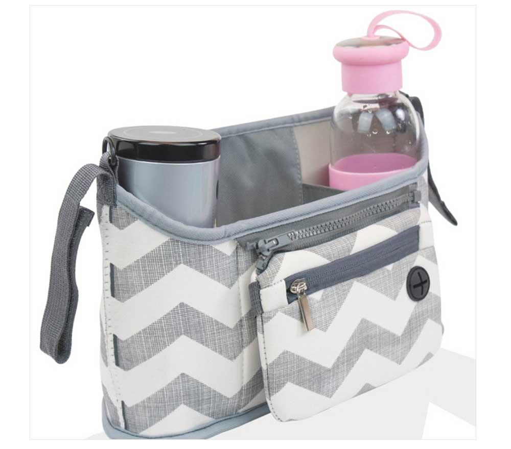 Stroller Bag Holder - Waterproof Keep Warm Stroller Bag Cup Holder with Phone Pram 12