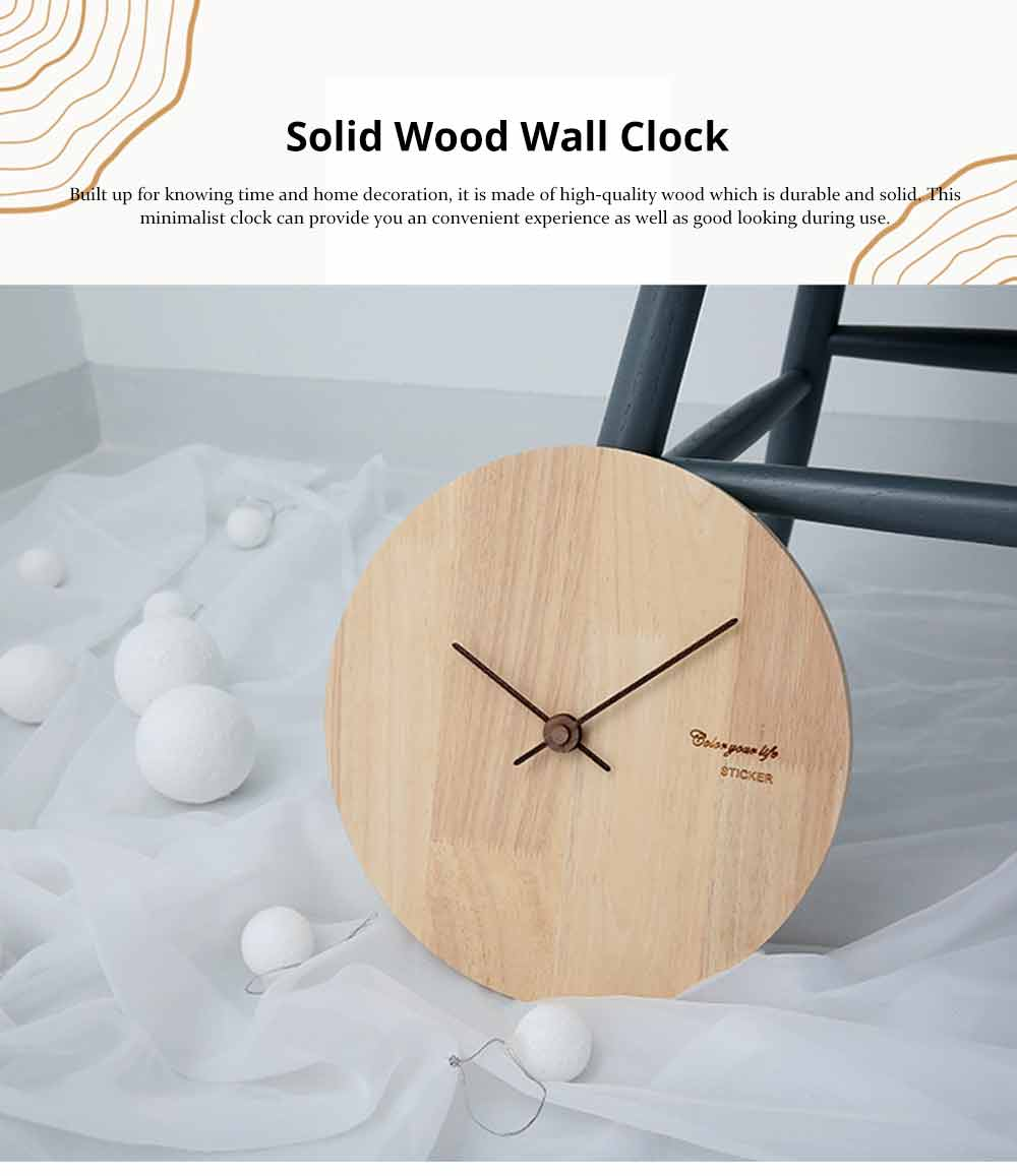 Solid Wood Wall Clock - Minimalist Modern Design Square Wall Clock, Round Wall Clock 0