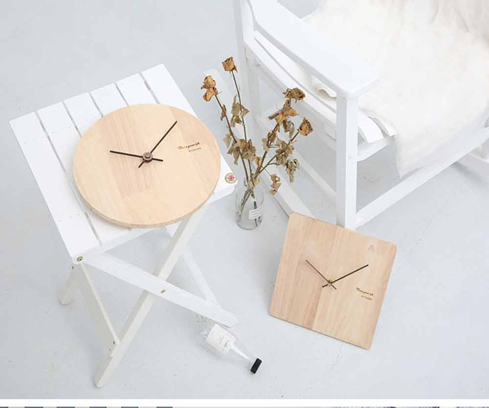 Solid Wood Wall Clock - Minimalist Modern Design Square Wall Clock, Round Wall Clock 14