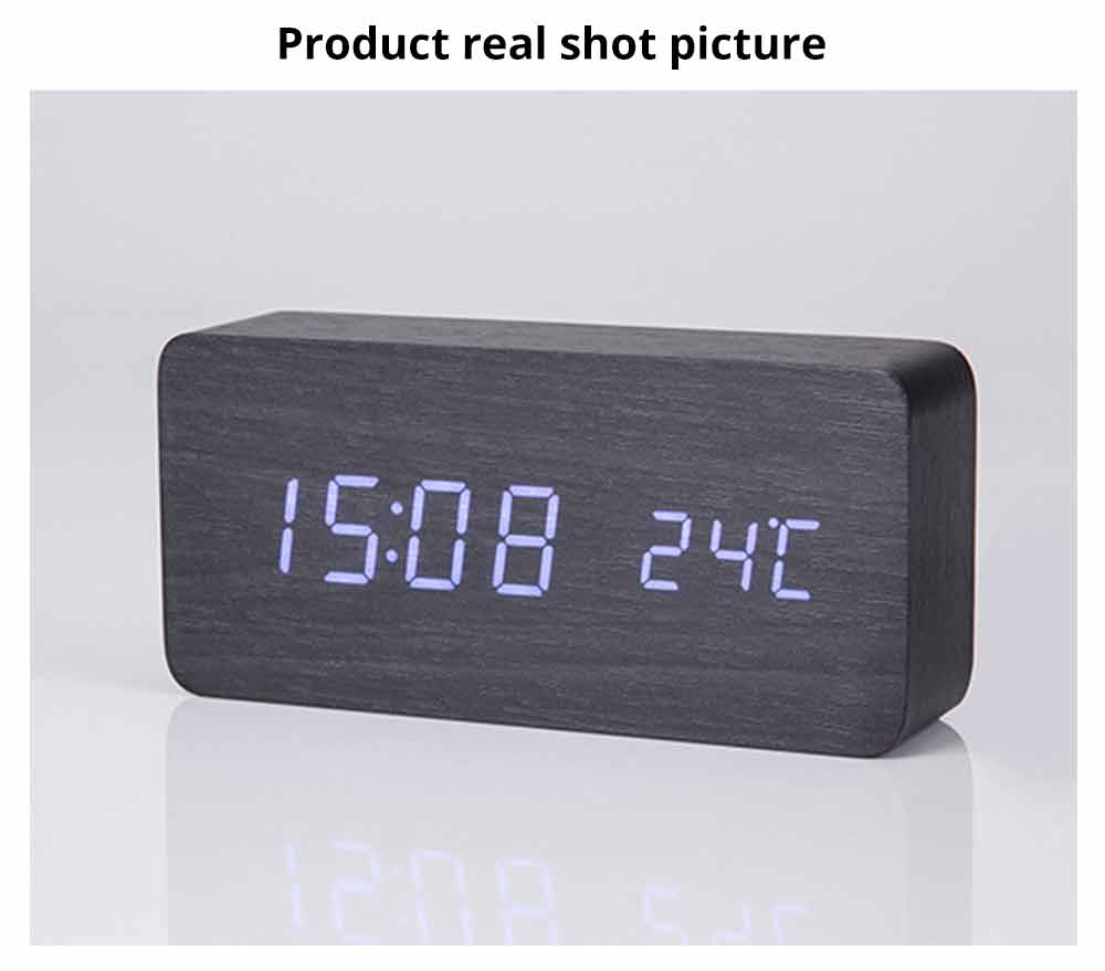 Rectangle Alarm Clock, Electronic Wooden Alarm Clock with Sound Control and Shows Temperature 12