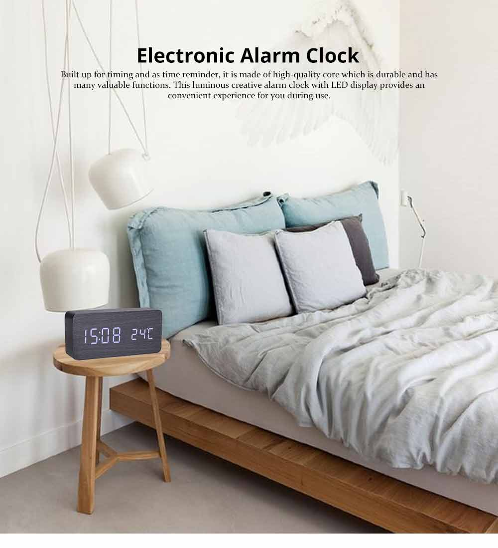 Rectangle Alarm Clock, Electronic Wooden Alarm Clock with Sound Control and Shows Temperature 0