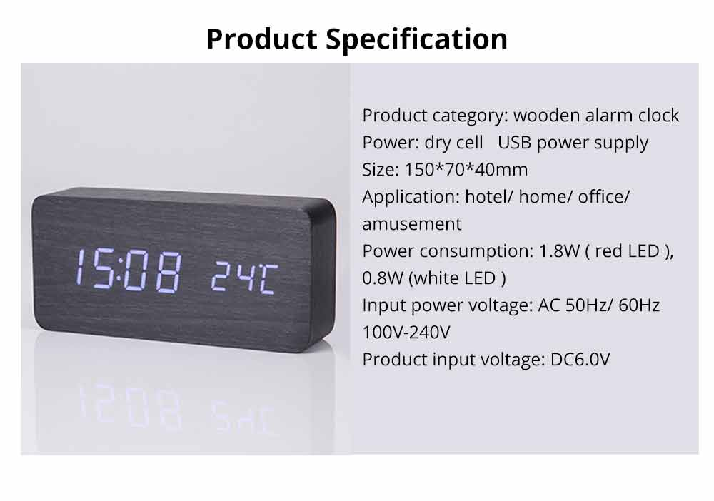 Rectangle Alarm Clock, Electronic Wooden Alarm Clock with Sound Control and Shows Temperature 15