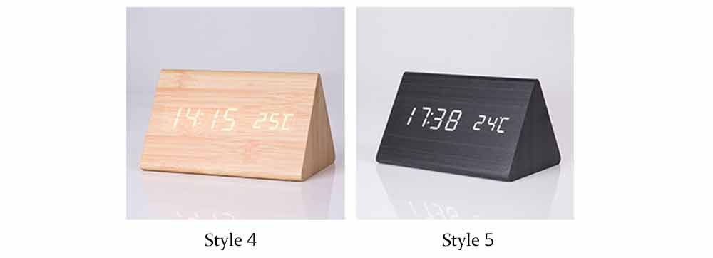 Triangular Alarm Clock - Wooden Electronic Alarm Clock with Sound Control and Temperature 6