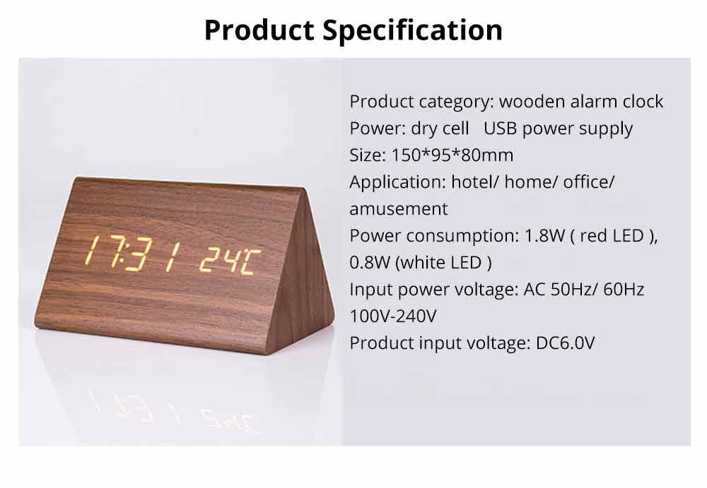 Triangular Alarm Clock - Wooden Electronic Alarm Clock with Sound Control and Temperature 7