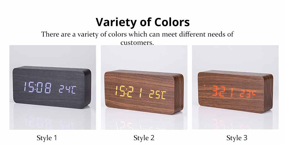 Rectangle Alarm Clock, Electronic Wooden Alarm Clock with Sound Control and Shows Temperature 5