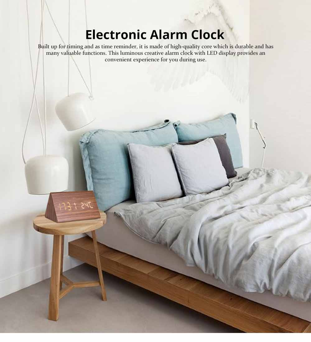 Triangular Alarm Clock - Wooden Electronic Alarm Clock with Sound Control and Temperature 0