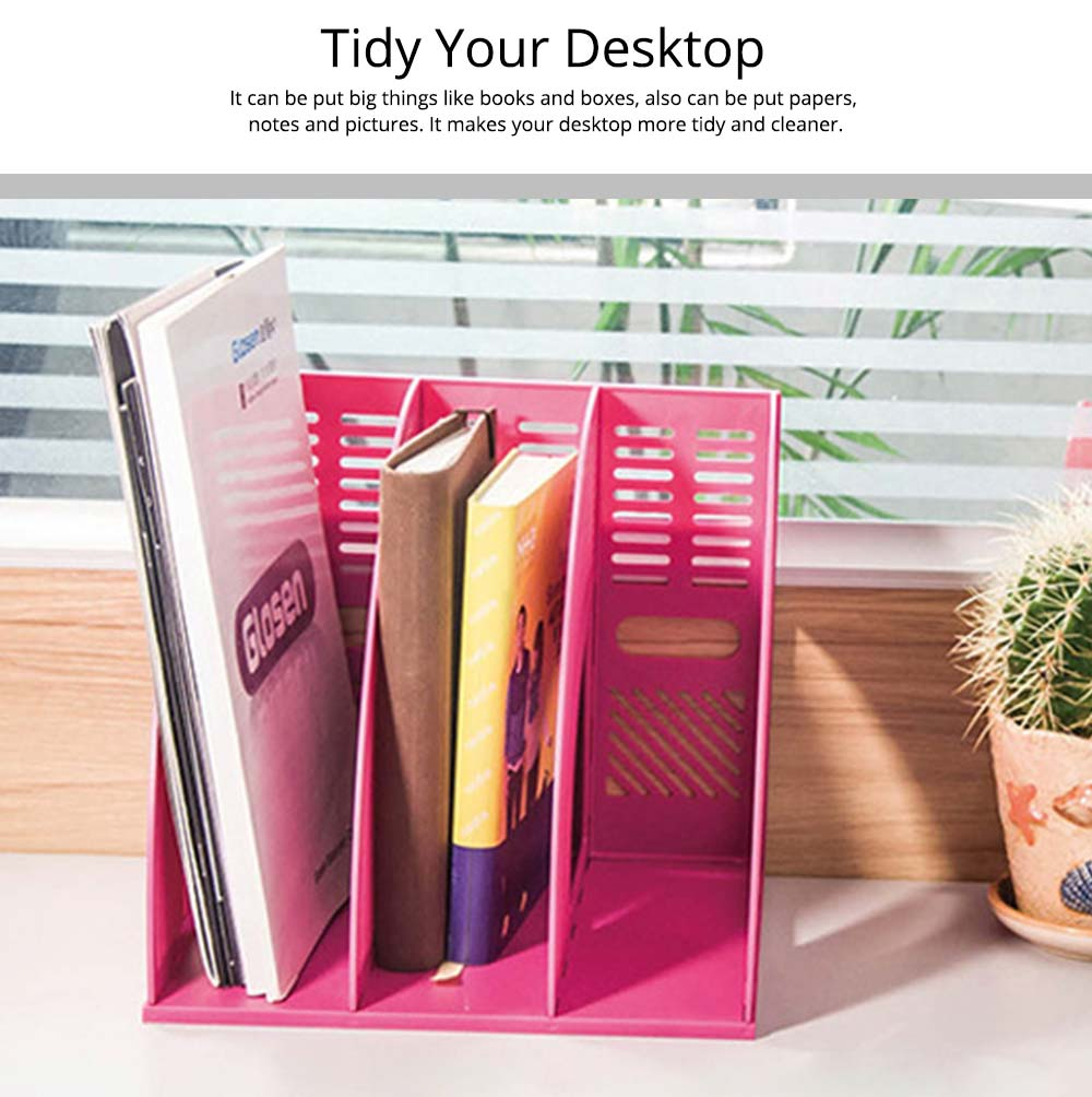 Desk File Holder - Fashion Document Rack Office Organizers Cabinet, Bright Color, HIPS Plastic 18