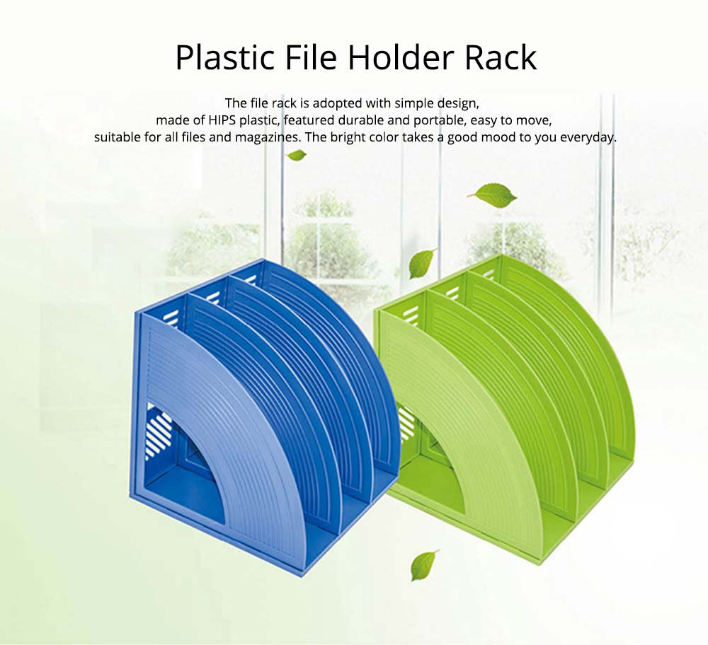 Desk File Holder - Fashion Document Rack Office Organizers Cabinet, Bright Color, HIPS Plastic 7