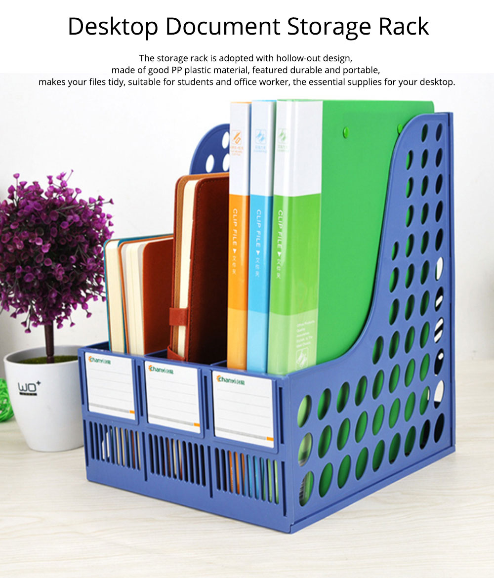 File Holder Stand - Plastic Desk File Holder Rack Organizer, 3 Subsections Document Storage 0