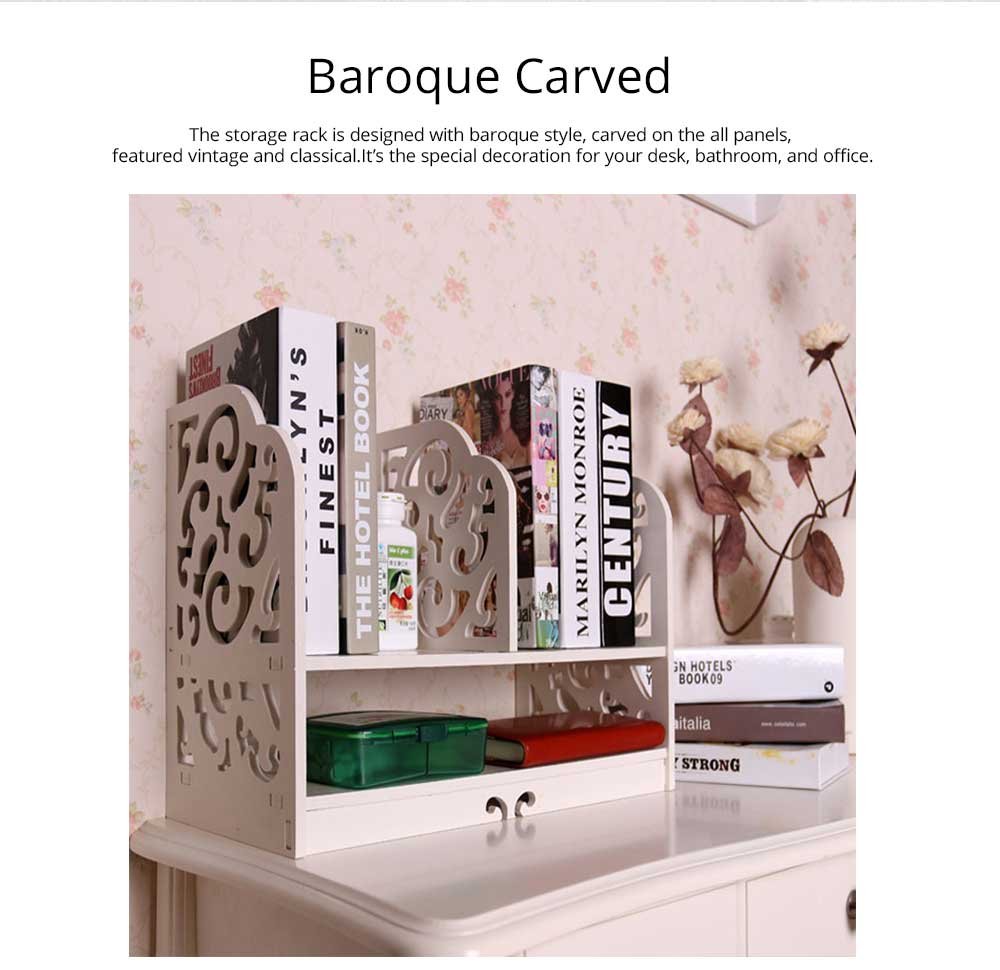 Bathroom Makeup Organizer - Elegant Bathroom Bedroom Storage Rack PVC Carved Shelf, White Baroque 7