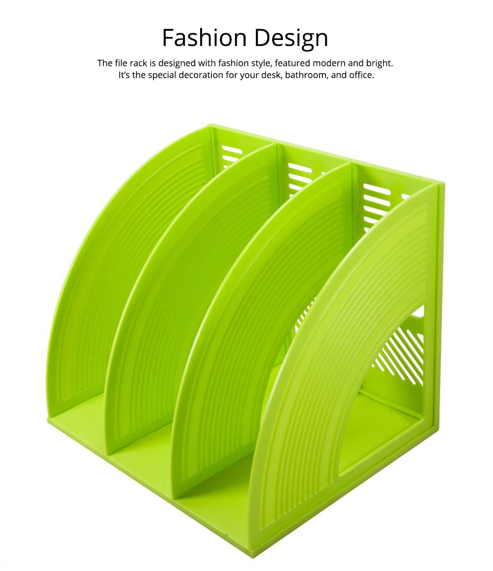 Desk File Holder - Fashion Document Rack Office Organizers Cabinet, Bright Color, HIPS Plastic 8