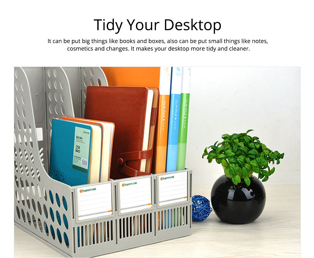 File Holder Stand - Plastic Desk File Holder Rack Organizer, 3 Subsections Document Storage 3