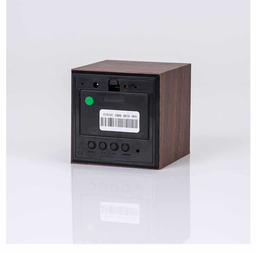 Wooden Digital Alarm Clock - Sound Control Electronic Alarm Clock with Temperature, Time LED Numeral Calendar 10