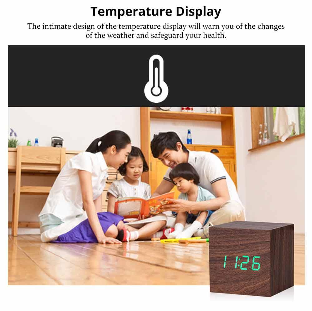 Wooden Digital Alarm Clock - Sound Control Electronic Alarm Clock with Temperature, Time LED Numeral Calendar 10