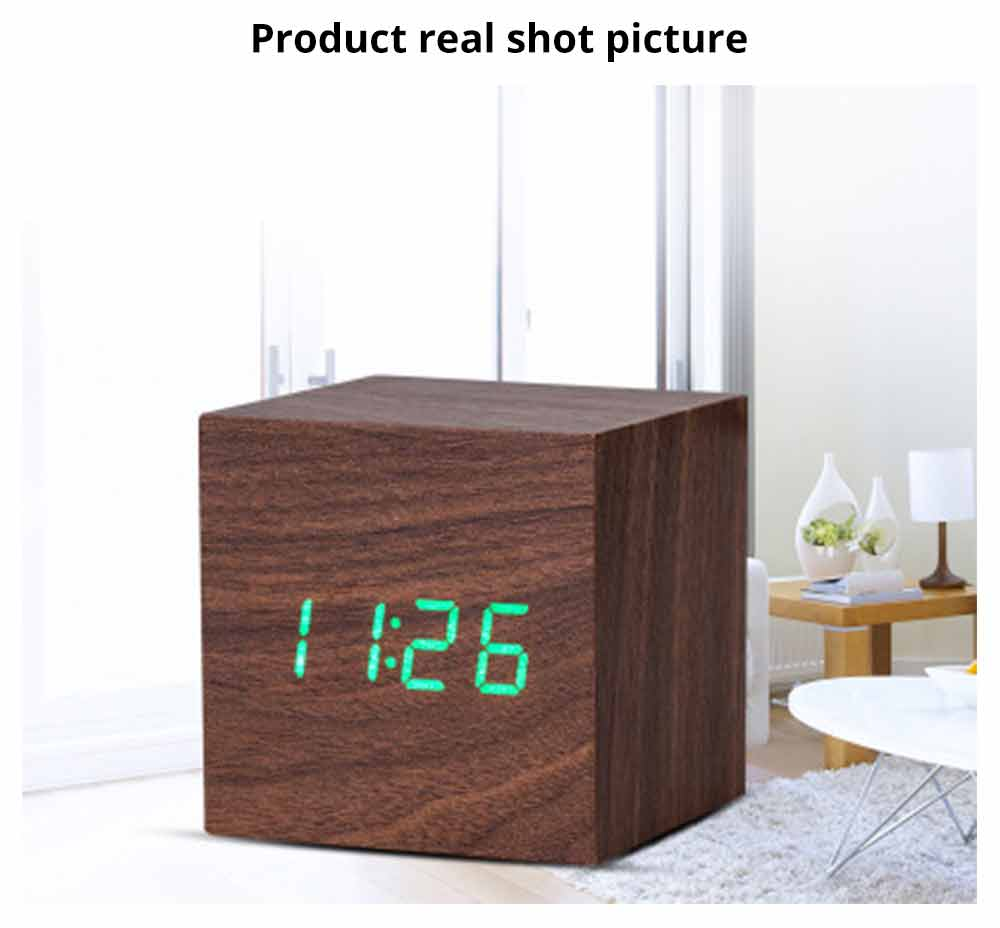 Wooden Digital Alarm Clock - Sound Control Electronic Alarm Clock with Temperature, Time LED Numeral Calendar 8