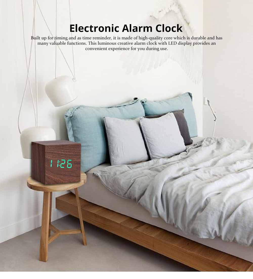 Wooden Digital Alarm Clock - Sound Control Electronic Alarm Clock with Temperature, Time LED Numeral Calendar 0