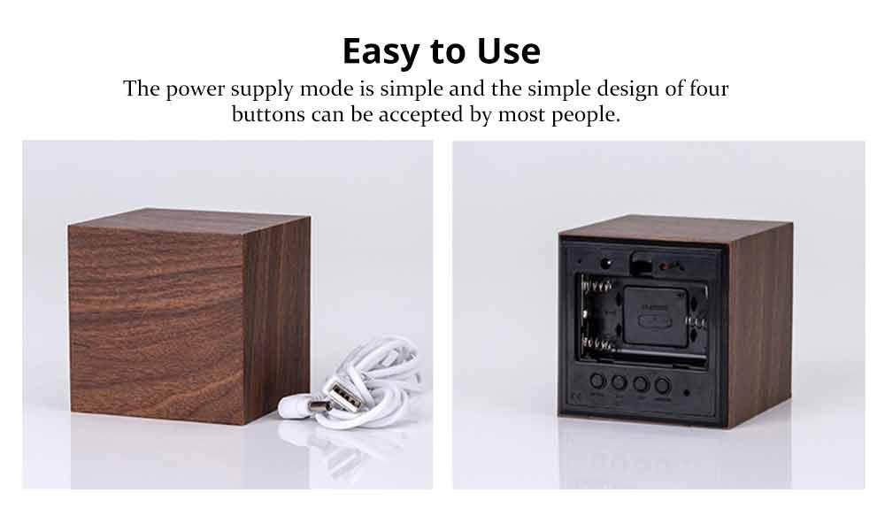 Wooden Digital Alarm Clock - Sound Control Electronic Alarm Clock with Temperature, Time LED Numeral Calendar 11