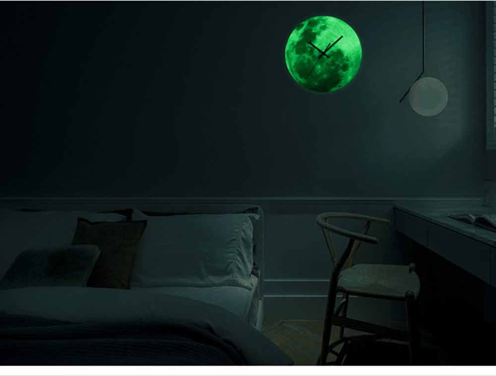 Luminous Wall Clock - Creative Round Luminous Clock with Moon and Planet Shows Up 13