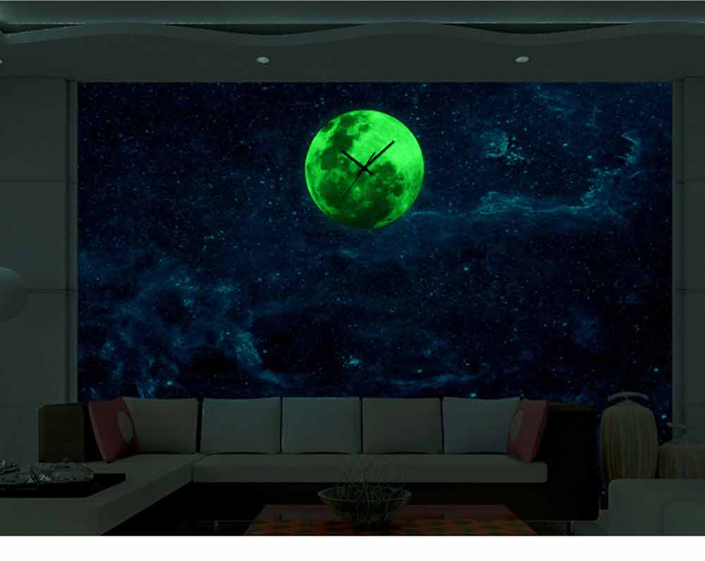 Luminous Wall Clock - Creative Round Luminous Clock with Moon and Planet Shows Up 8