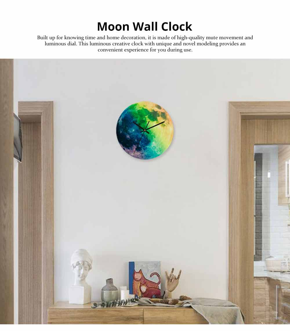 Luminous Wall Clock - Creative Round Luminous Clock with Moon and Planet Shows Up 7