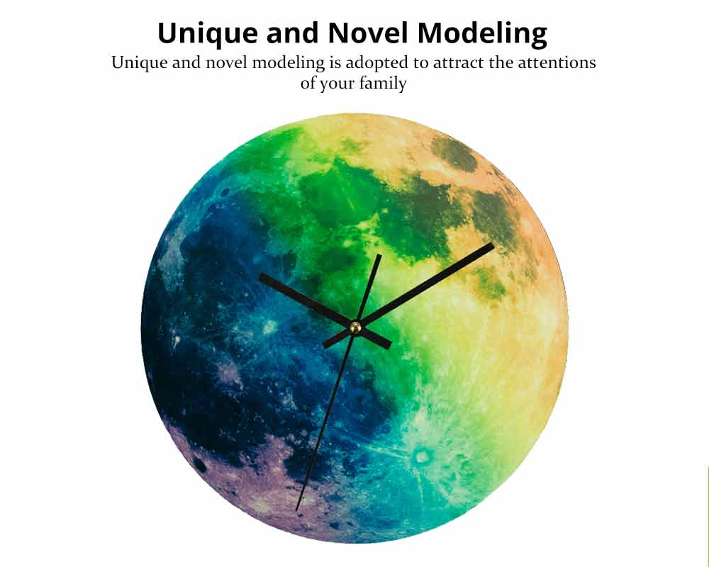 Luminous Wall Clock - Creative Round Luminous Clock with Moon and Planet Shows Up 1