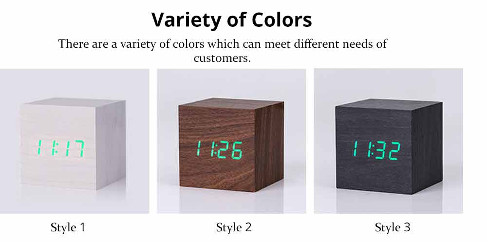 Wooden Digital Alarm Clock - Sound Control Electronic Alarm Clock with Temperature, Time LED Numeral Calendar 5