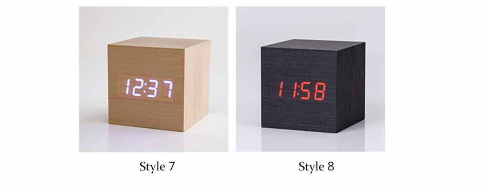 Wooden Digital Alarm Clock - Sound Control Electronic Alarm Clock with Temperature, Time LED Numeral Calendar 7