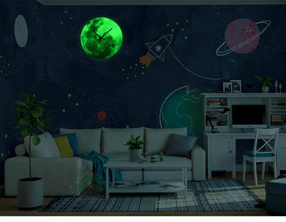 Luminous Wall Clock - Creative Round Luminous Clock with Moon and Planet Shows Up 14
