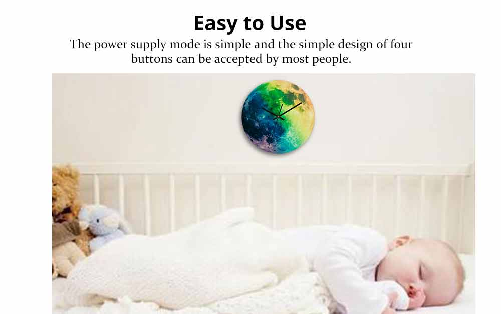Luminous Wall Clock - Creative Round Luminous Clock with Moon and Planet Shows Up 4