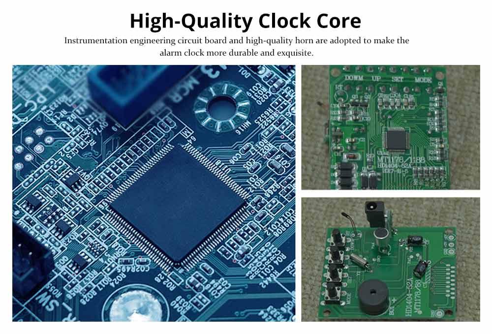 Wooden Digital Alarm Clock - Sound Control Electronic Alarm Clock with Temperature, Time LED Numeral Calendar 9