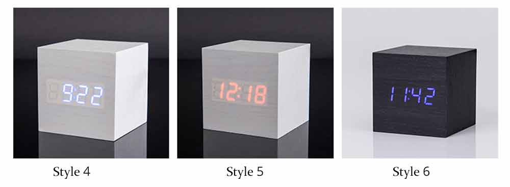 Wooden Digital Alarm Clock - Sound Control Electronic Alarm Clock with Temperature, Time LED Numeral Calendar 6