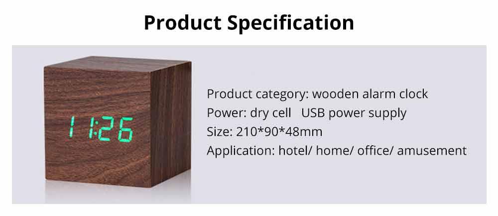 Wooden Digital Alarm Clock - Sound Control Electronic Alarm Clock with Temperature, Time LED Numeral Calendar 18