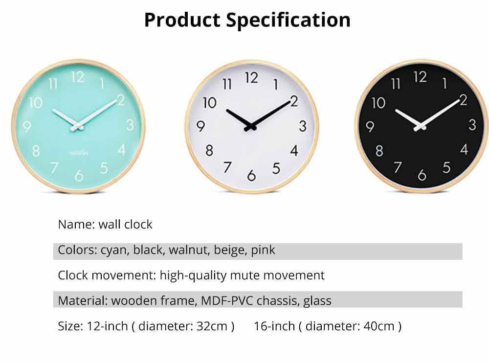 Wall-mounted Clock - Wood Frame Minimalist Clock with Wooden Edge for Home, Hotel, Restaurant, Coffee Shop 10