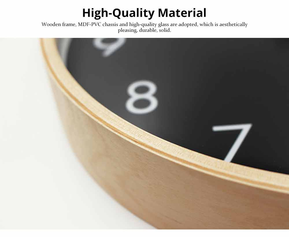 Wall-mounted Clock - Wood Frame Minimalist Clock with Wooden Edge for Home, Hotel, Restaurant, Coffee Shop 2