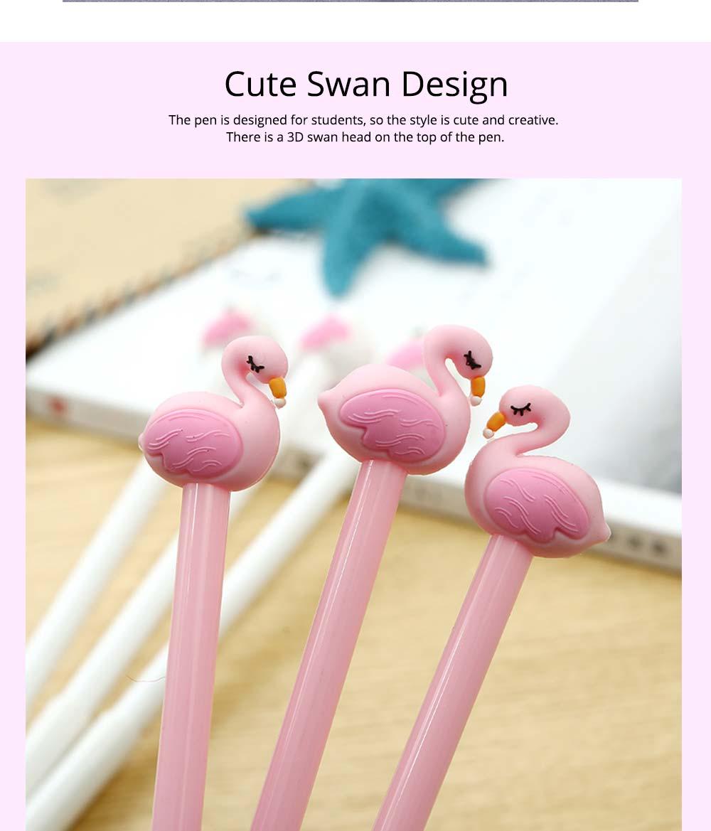 Cute Gel Pen - Creative Pink White Cartoon Swan Gel Pen, 0.5mm 2