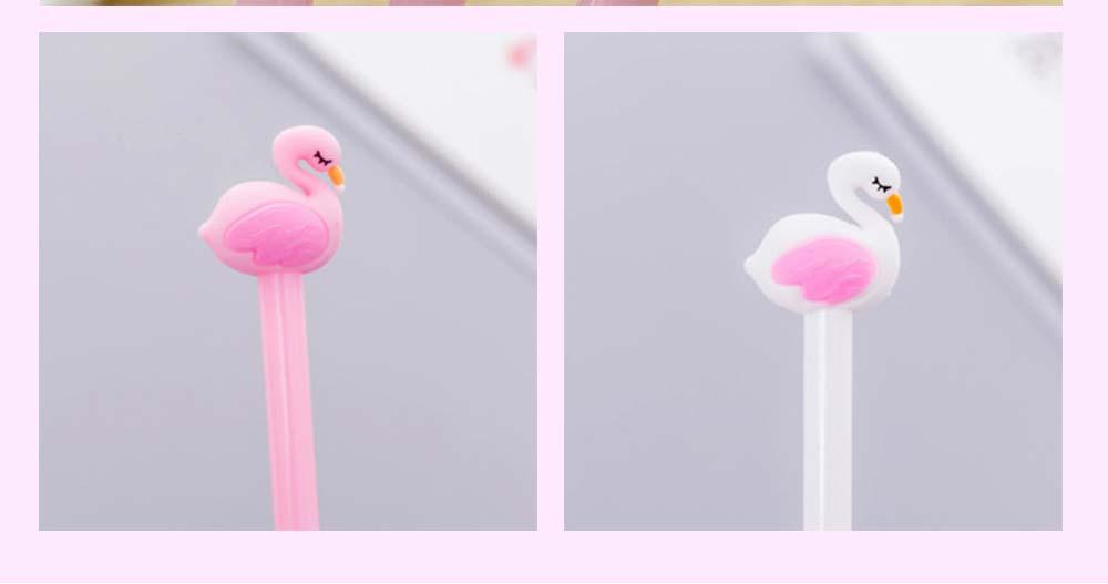 Cute Gel Pen - Creative Pink White Cartoon Swan Gel Pen, 0.5mm 3