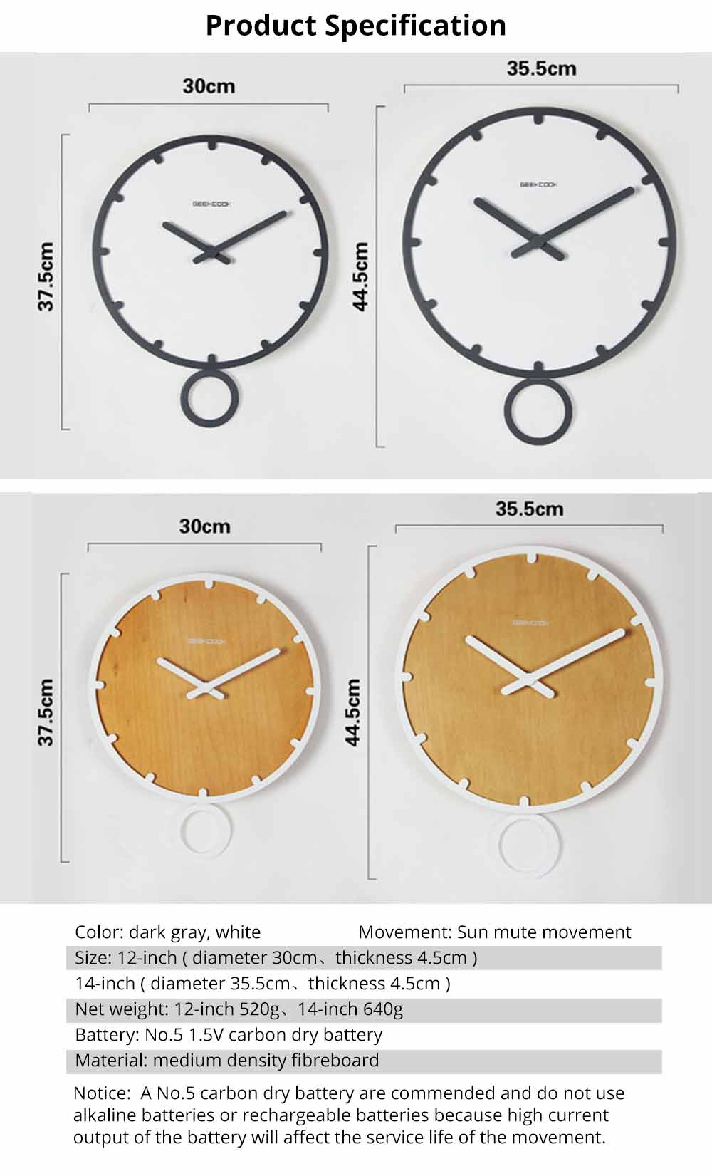 Number Wall Clock - Minimalist Modern Design Round Wall Clock, Silence 9