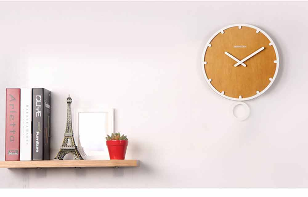 Number Wall Clock - Minimalist Modern Design Round Wall Clock, Silence 6