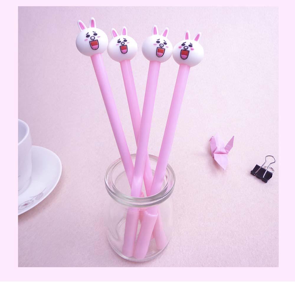 Cute Gel Pen - Cartoon Rabbit Neutral Pen Black,  0.38mm 10