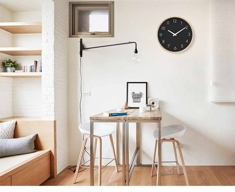 Wall-mounted Clock - Wood Frame Minimalist Clock with Wooden Edge for Home, Hotel, Restaurant, Coffee Shop 8