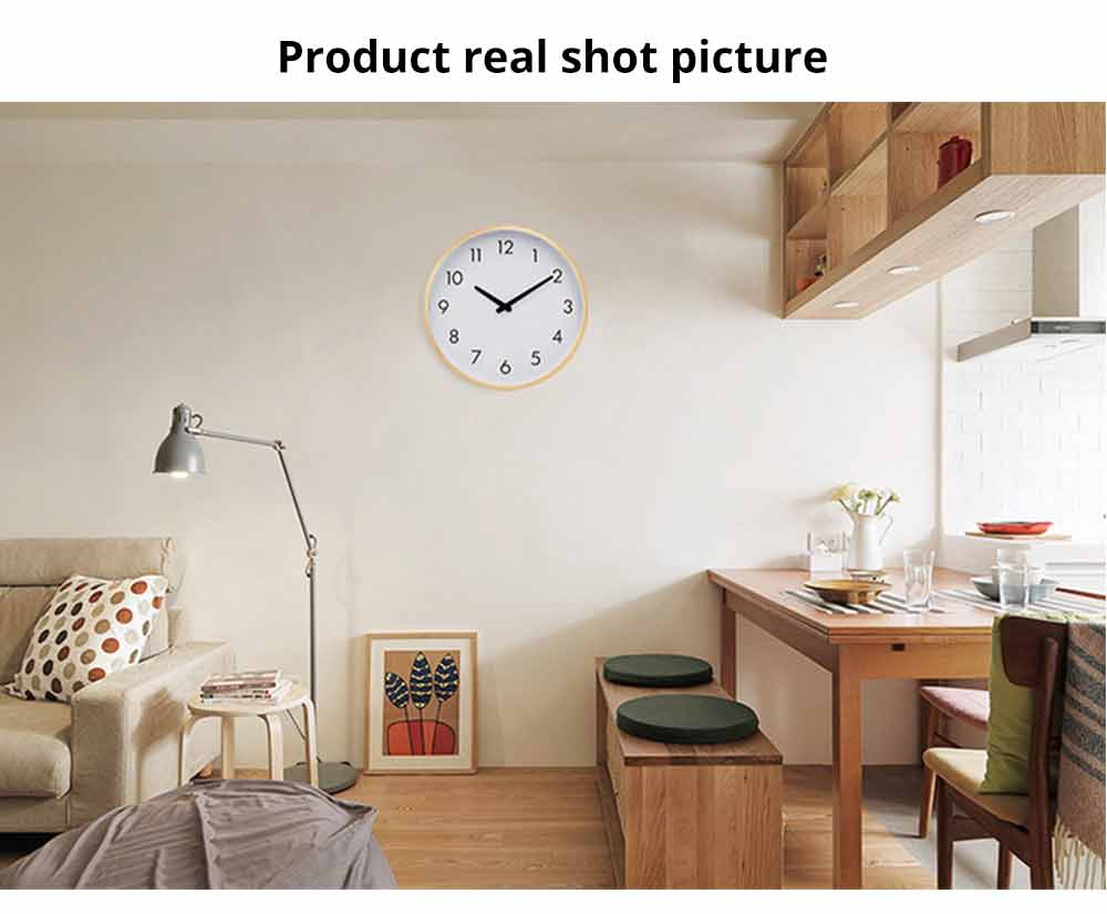 Wall-mounted Clock - Wood Frame Minimalist Clock with Wooden Edge for Home, Hotel, Restaurant, Coffee Shop 7