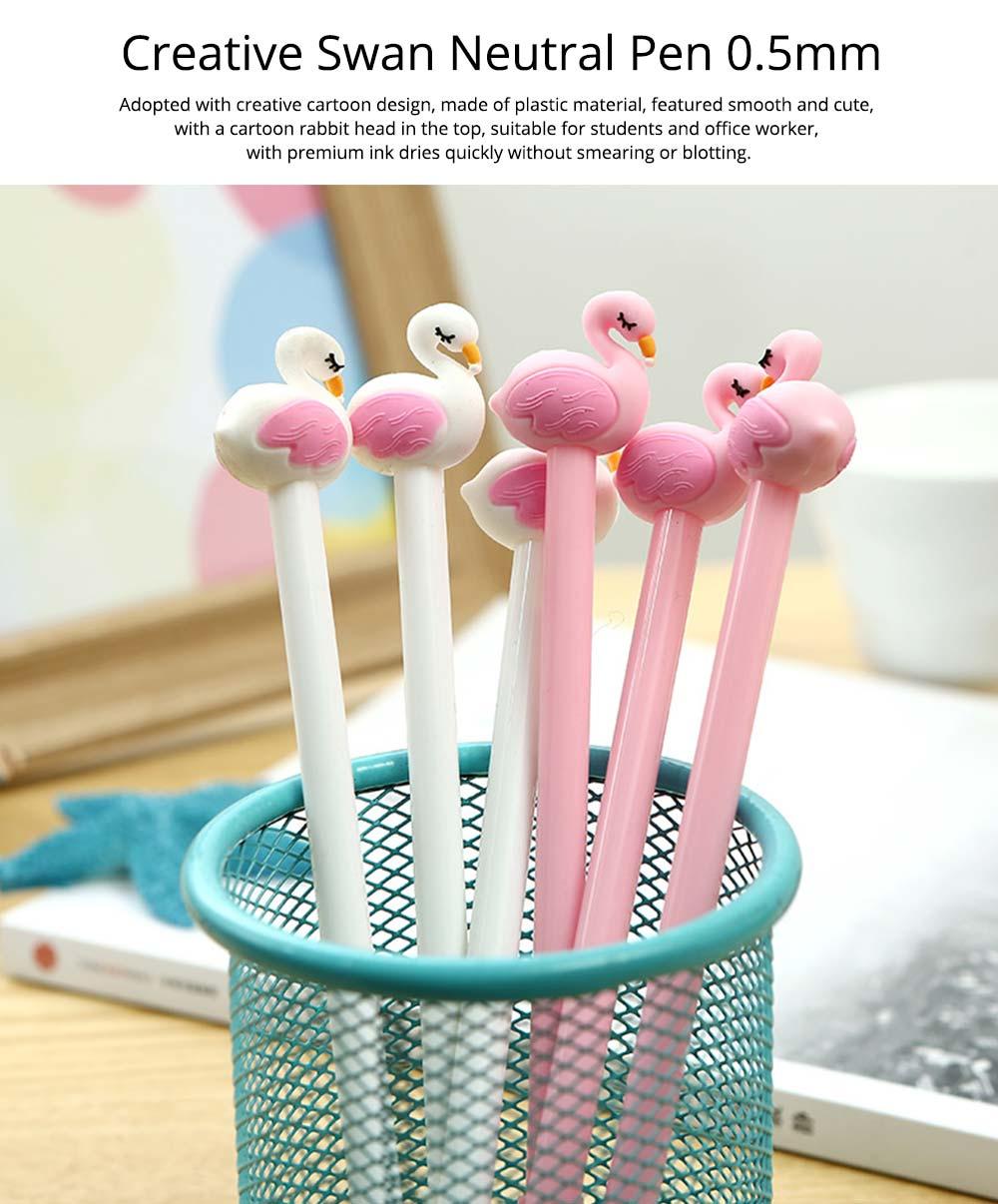 Cute Gel Pen - Creative Pink White Cartoon Swan Gel Pen, 0.5mm 0