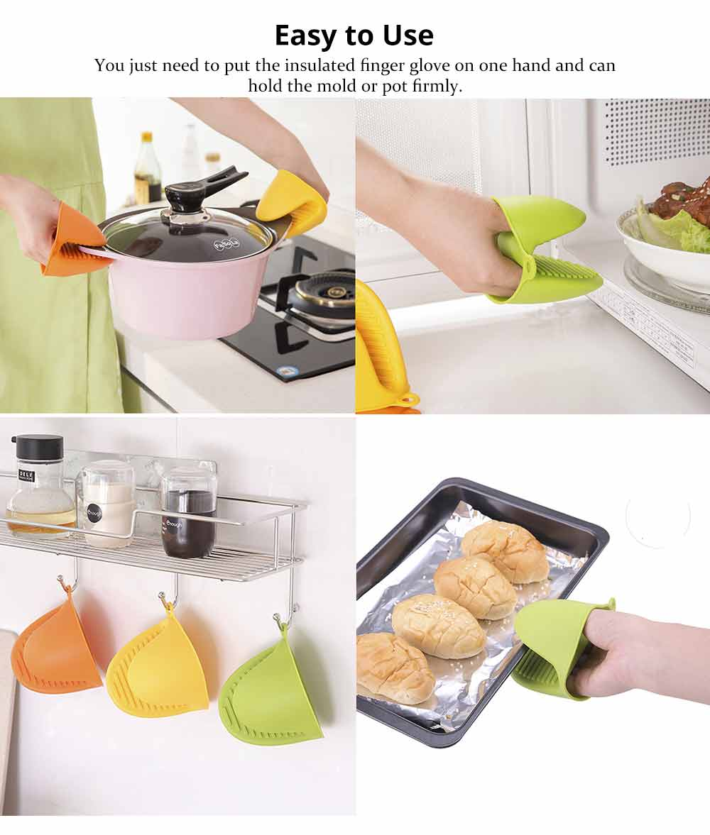 Microwave Oven Gloves, Silicone Heat Resistant Gloves Hot Pot Holder Kitchen Baking Oven Mitts 4