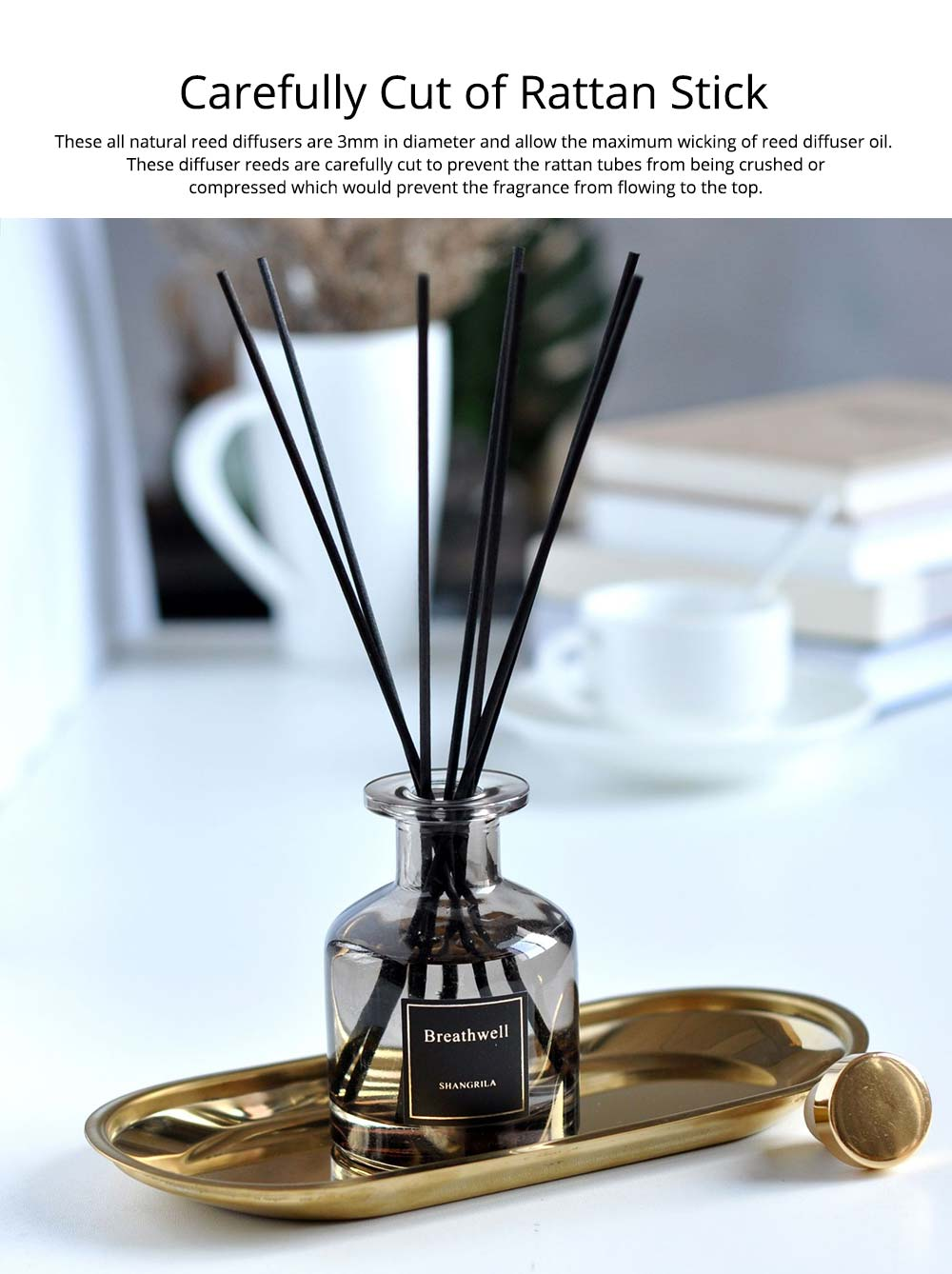 No-Fire Aroma Diffuser Home Fragrance - High-End Rattan Sticks Aromatherapy with Colorful Glass Bottle, 125ml 3