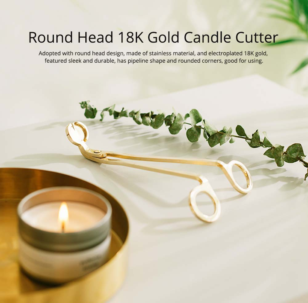 Candle Scissors - Electroplated 18K Gold Candle Wick Oil Lamp Stainless Steel Scissors Trim Trimmer Cutter Snuffers 7