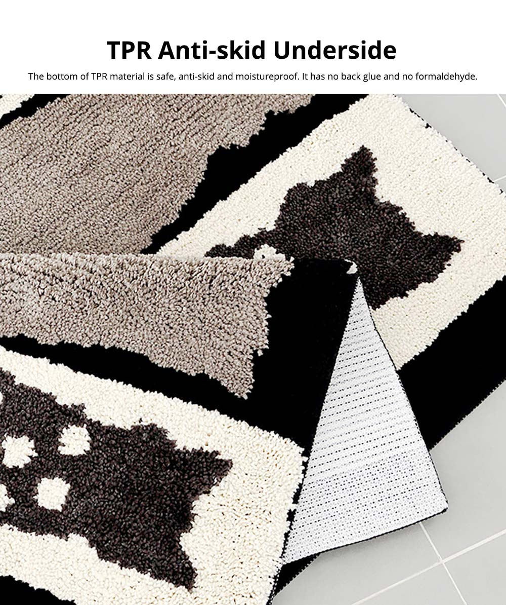 Chic Contrast Color Black And White Carpet Doormat Area Rug Fluffy Shaggy Anti-Skid Floor Mats 3